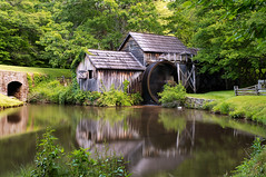 Mabry Mill with spinning waterwheel (loco's photos) Tags: longexposure trees motion mill nature water forest landscape outdoors virginia pond scenery pentax most spinning kr photographed blueridgeparkway waterwheel grist mabry mabrymill meadowsofdan dal1855