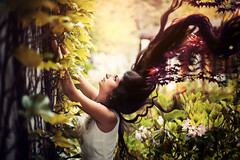 Her Flying Hair (Yuliya Bahr) Tags: red portrait woman sun girl beautiful beauty fashion forest hair dream longhair style dreamy flyinghair
