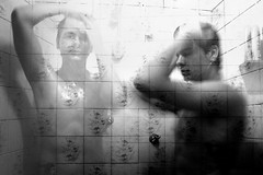 two of me (Btrolesi) Tags: blackandwhite me bathroom shower bath eu fujifilm doubleexposition pretoebranco banho duplaexposio fujifilms1500
