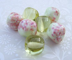 Primrose Blush Nuggets (Glittering Prize - Trudi) Tags: pink glass rose yellow beads nuggets lampwork artisan primrose handamde zerdali