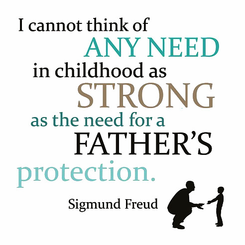 I cannot think of any need in childhood as strong as the need for a father's protection