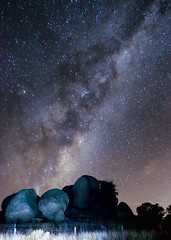 Rocky outcrop under the Milky Way (Indigo Skies Photography) Tags: sky tree night rural stars photography flickr bright farm country victoria galaxy astronomy nightsky strobe milkyway lancefield southernhemisphere southernsky nikond90 galacticcentre tooborac pyalong darkrift raychristy lancefieldtooborac