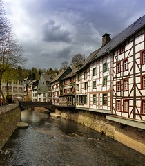 Monschau, the idyllic town in the Eifel (Bn) Tags: park street houses castle nature river germany walking geotagged town spring topf50 scenery day cloudy north ruin charm eifel historic ruine valley hillside quaint picturesque venn haller fortress narrow monschau duitsland unchanged hedges timbered roer rur hohes rhinewestphalia 50faves schilderachtig noordrijnwestfalen blinkagain geo:lon=6241543 geo:lat=50555264