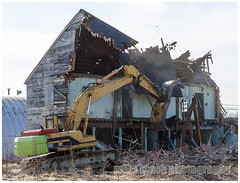 Camp Evans building demolition [roof chunk falling]  New Jersey (Mike Black photography) Tags: new camp black cold building abandoned mike wall architecture radio canon entropy evans construction war decay military gear age jersey info base radar brac marconi razing