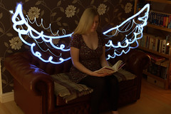 Angel Lite (benjobango) Tags: light portrait white lightpainting angel hair reading book wings birmingham dress sofa chesterfield