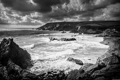 Jangye-ryn (aljones27) Tags: ocean sea blackandwhite bw water monochrome coast seaside cornwall waves wave lizard coastal shore coastline
