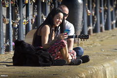 Sitting on the Dock of the Bay (Mark Holt Photography - 4 Million Views (Thanks)) Tags: love musicians hippies liverpool couples happiness lovers carefree havingfun selfie thealbertdock