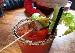 Another Smokepit Caesar at Dusty's (Ruth and Dave) Tags: food glass bar whistler restaurant pub drink beef straw caesar cocktail alcohol cube chilli celery dustys brisket tomatojuice creekside
