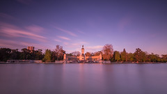 Lago del Retiro 16/52 (Adrin Cceres) Tags: madrid city longexposure sky espaa lake reflection water clouds landscape spain purple