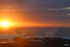 glorious start (Jeannine DW) Tags: beach sunrise rocks waves