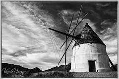 MOLINO CABO DE GATA (Vanesa Naranjo) Tags: molino cabo de gata genoveses playa almeria bnw contrast noiretblanc byn blanconegro