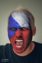 GO CZECH!!! (betak.cz) Tags: blue red white game france face ball painting fan football play euro flag soccer czechrepublic match cz fans noise roar francie cheering fotbal euro2016 goczech