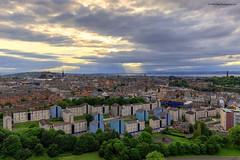 Edinburgh from the Radical Road (MilesGrayPhotography (AnimalsBeforeHumans)) Tags: city uk summer sky castle skyline architecture clouds canon outdoors eos evening edinburgh europe cityscape edinburghcastle britain wide historic rays usm crags iconic raysoflight radicalroad 1635 f4l auldreekie balmoralclocktower canon6d canon1635mmf4lisusm