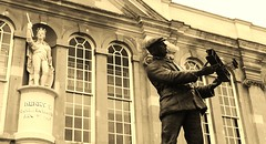 Historical Monmouth.. (explored: 29/6/16) (Charlotte Ruck) Tags: monmouth wales history statues buildings architecture building sepia old archaic olden worn vintage