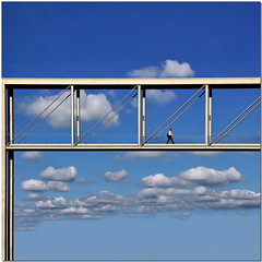 The walk on the clouds (Nespyxel) Tags: bridge sky man berlin architecture modern clouds germany square nuvole alone footbridge walk azure ponte uomo cielo dizzy architettura moderno germania quadrato berlino geometrie passeggiata geometries nespyxel stefanoscarselli saariysqualitypictures reasonandsense