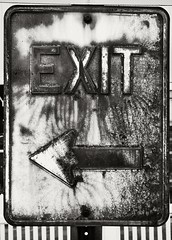 rusty exit sign (frntprchprss) Tags: blackandwhite rusty arrow exitsign