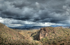 Superstition Wilderness-Hdr (ZTesta) Tags: arizona storm clouds canon rebel apache desert dramatic trail wilderness sonoran superstition hdr highdynamicrange fourpeaks t2i eos550d