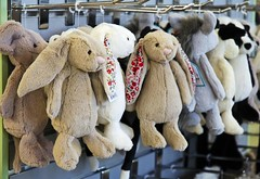 just hangin' with the guys... (HUNGRYGH0ST) Tags: cute rabbit bunny shop toy store display group plush shelf rack cuddly childrens whimsical