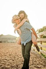 Chris & Carleigh's Engagement (Ruth / RovingGirl.com) Tags: chris light horse beautiful hat engagement cowboy pretty boots farm traintracks session carleigh