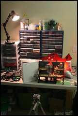 Behind the Scenes I (Brian Rinker) Tags: shadow buildings los fighter shadows lego angeles military explosion jet perspective scene creation forced build moc atin