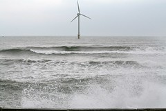 Sea spray from big waves and windmill - North Blyth, Northumberland (Glen Bowman) Tags: uk sea england beach windmill fishing waves harbour britain great windmills northumberland northsea northeast windfarm bigwaves seaspray
