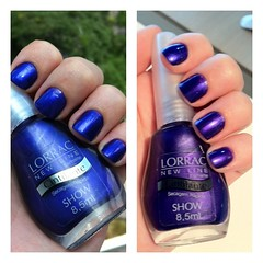 Show - Lorrac (Fe Croft) Tags: blue colors girl azul cores hands flickr colours hand purple fotolog nails fe unhas roxo unha fefa esmaltes esmalte twitter fecroft artnail lorrac
