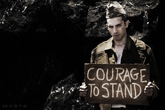 courage (alex.calder.1) Tags: california blackandwhite pride lgbt conceptual humanrights muirbeach equalrights veterans downtownsacramento dadt iconographic russiansoldier couragetostand justinhaasis alexcalderphotographer dontaskdonttellrepealed signsofsignscollection