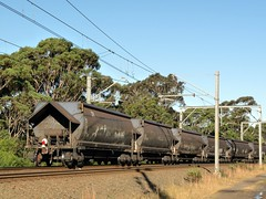 train complete with bog (sth475) Tags: railroad autumn train wagon waterfall afternoon sydney sunny australia nsw coal bog hopper freight taillight loaded endoftrain bulk eot southcoastline nhsh42685d