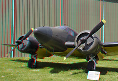 Twinbeech 18  3D (wim hoppenbrouwers) Tags: airplane 3d aircraft engine anaglyph stereo 18 beechcraft aviodrome redcyan twinbeech beechcraft18