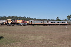 2121F at Redbank Workshops (PJ Reading) Tags: yard accident damage bronco redbank freight qr coaches collision workshops lander queenslandrail qrnational 2100class 2121f