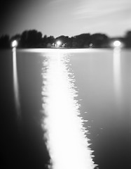 Under the Supermoon (lost in pixels) Tags: longexposure blackandwhite bw reflection night analog kodak 4x5 danube largeformat aero graflex foma ektar 178mm supermoon