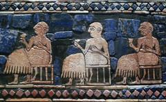 The Standard of Ur, detail of seated figures (peace)