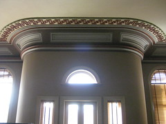 Detail of a Ceiling and Wall in the Ballarat Mechanics' Institute - Sturt Street, Ballarat (raaen99) Tags: door city windows roof light sunlight detail building green heritage window wall century leaf education pattern panel library cream australia victoria plaster ceiling institute national shade victoriana trust civic classical chinoiserie 1850s moulding ballarat lunette 19th goldrush listed frenchdoors ornamentation nineteenth 1859 edging countryvictoria lightandshade mechanicsinstitute freelibrary adulteducation sturtstreet heritageweekend sturtst russett plastermoulding moulure goldrushera greekkeypattern provincialvictoria ballaratmechanicsinstitute educationalestablishment chinoiseriestyle ballaratheritageweekend arcitrave technicalinstitution landmarkbuildingarchitecture historyhistoricaldecoration1860s1870s
