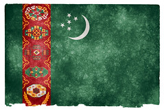 Turkmenistan Grunge Flag (Free Grunge Textures - www.freestock.ca) Tags: old red orange moon green texture yellow vintage paper stars asian star asia image antique background flag grunge country stock nation stripe picture retro crescent national page sheet aged striped resource turk textured grungy turkmen turkmenistan