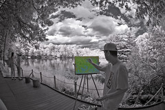 Painting Infrared Scenery In Color (aeschylus18917) Tags: park blackandwhite white lake black nature monochrome japan season landscape ir tokyo spring pond nikon scenery artist seasons d70 nikond70 surreal brush canvas infrared   koen nerima easel  105mm nerimaku 105mmf28gfisheye  shakuji  shakujikoen      d700 nikkor105mmf28gfisheye  shakujipark  danielruyle aeschylus18917 danruyle druyle   shakujiiken