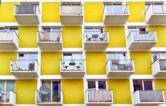 HFF! (suzanne.gibson) Tags: windows yellow architecture fence germany munich outdoor balcony symmetry geometrical