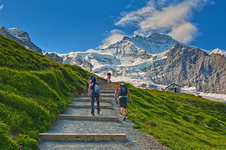 Walking up to the Eiger Trail. Up in the pic The Jungfrau Mountain.On the left side You can notice the famous Junfraujoch.  The hut of Mittelegi is on the right side .No. 7916.