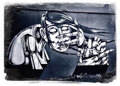 Street Art by Sepr, Bristol (firstnameunknown) Tags: urban streetart art monochrome bristol graffiti blackwhite mural sepr iphoneography hipstamatic
