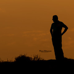 Thinking! (mahernaamani) Tags: sunset people guy nature silhouette canon person gulf zoom outdoor think thinking missyou 70300mm oman muscat loveyou 143 6d   omani    azaiba  peoplearoundtheworld  canon6d