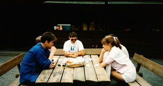 West Germany    -    HerbornSeelbach    -   Grillhütte    -    Church Picnic    -   Jessica & friends  playing Monopoly    -    30 July 1989