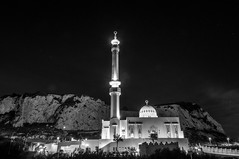 Ibrahim-al-Ibrahim Mosque, Gibraltar (Oliver J Davis Photography (ollygringo)) Tags: two blackandwhite bw building tourism architecture night religious construction nikon europe king minaret muslim islam religion landmark mosque illuminated bin holy gibraltar hdr mosques islamic rockofgibraltar europapoint custodian straitofgibraltar fahd alsaud d90 abdulaziz ibrahimalibrahim
