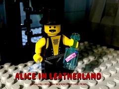 Alice... in LeatherLand (woodrowvillage) Tags: trip leather chains bottle pain lego drink alice mini bondage legos drugs figure wonderland minifigure