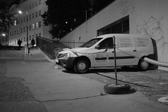 ... told you it will fit (SlickCZ) Tags: street city bw monochrome car night creativity prague parking praha clever bwphotography dimensions ingenuity dacia inventive