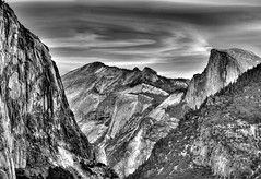 Long View (Doug Santo) Tags: magnificentvalley tunnelview halfdome cloudsrest yosemitevalley landscapephotography blackandwhite