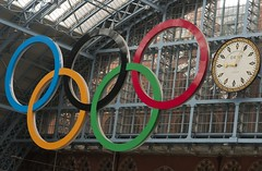 Olympic Rings at St. Pancras International Rail Station during the London Olympics, 2012. (arthur_walley) Tags: 2012olympics londonolympics railstation stpancrasinternationalrailstation london stpancras olympicrings