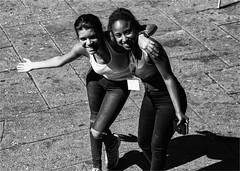 Happy girls (zilverbat.) Tags: city girls urban blackandwhite bw sexy portugal monochrome portraits blackwhite scenery zwartwit citylife streetphotography streetlife streetscene streetshot urbanlife blackgirls streetcandid straatfotografie blackwhitephotos zwartwitfotografie zilverbat