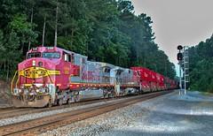 Warbonnets on NS 223 in Apison, TN (James Patrick Kolwyck) Tags: santa railroad train photography long tn ns tennessee norfolk railway southern fe ge railfan bnsf 223 intermodal atsf railfanning warbonnet c449w apison