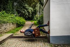 Defying gravity (Mijngheer Alain) Tags: nikon nikond600 nikonafsnikkor2485mmf3545gedvr levitation levitate strobe strobisme strobism strobist offcameraflash sb700 speedlite belgium belgie belgique man model briefcase