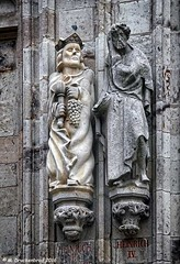 Statues on the Ratsturm, city hall tower (PhotosToArtByMike) Tags: ratsturm rathaus colognecityhall klnerrathaus oldtownhall colognegermany cologne germany sculpture statues cityhall dom koln klnerdom oldtown rhineriver oldquarterofcologne europe