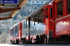 bernina express (mau.ro70) Tags: travel red railway stazione viaggio vacanza redtrain stmoritz capolinea berninaexpress retica treninorosso ferrovieretiche